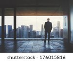 businessman looking at city... | Shutterstock . vector #176015816