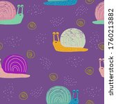 funny snail seamless pattern.... | Shutterstock .eps vector #1760213882