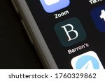 Small photo of Portland, OR, USA - May 20, 2020: Barron's mobile app icon is seen on a smartphone. Barron's is an American weekly magazine/newspaper published by Dow Jones & Company, a division of News Corp.