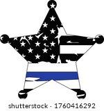 thin blue line us flag. flag... | Shutterstock .eps vector #1760416292