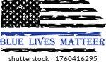 thin blue line us flag. flag... | Shutterstock .eps vector #1760416295