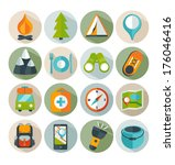 hiking and mountain icons.... | Shutterstock .eps vector #176046416