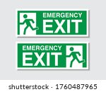 green emergency exit sign. fire ...   Shutterstock .eps vector #1760487965