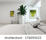 modern white bedroom with bed... | Shutterstock . vector #176054222
