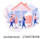 tiny people clean house with...   Shutterstock .eps vector #1760578358