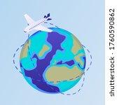 plane flies around world...   Shutterstock .eps vector #1760590862
