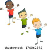 vector boys with hands up... | Shutterstock .eps vector #176062592