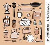 hand drawn kitchen doodle set | Shutterstock .eps vector #1760631332