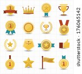 trophy and prize icons with... | Shutterstock .eps vector #176065142
