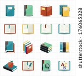 books icons and library icons... | Shutterstock .eps vector #176065328
