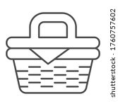picnic basket thin line icon ... | Shutterstock .eps vector #1760757602
