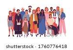crowd of joyful multinational... | Shutterstock .eps vector #1760776418