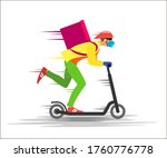 courier in a mask and gloves on ...   Shutterstock . vector #1760776778
