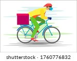courier in a mask and gloves on ...   Shutterstock . vector #1760776832