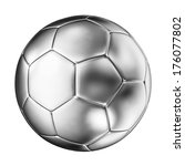 3d image of silver soccer ball | Shutterstock . vector #176077802