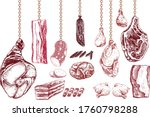 set of different types of meat  ... | Shutterstock .eps vector #1760798288