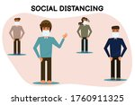 social distancing  group of men ... | Shutterstock .eps vector #1760911325