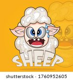 Funny Sheep Cartoon Mascot...