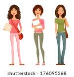 cute cartoon  illustration of... | Shutterstock .eps vector #176095268