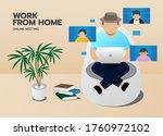 work form home online meeting ... | Shutterstock .eps vector #1760972102