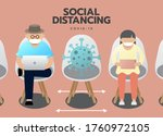 new normal of social distancing ... | Shutterstock .eps vector #1760972105