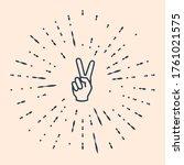 black hand showing two finger... | Shutterstock .eps vector #1761021575