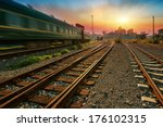 cargo train platform at sunset... | Shutterstock . vector #176102315
