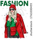 beautiful girl in a fashionable ... | Shutterstock .eps vector #1761030455