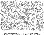 hand drawn set of seafood... | Shutterstock .eps vector #1761064982