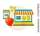 online shopping. sale  laptop... | Shutterstock .eps vector #176107862