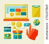 e commerce symbols internet... | Shutterstock . vector #176107865