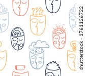seamless pattern with faces... | Shutterstock .eps vector #1761126722