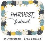 vintage vector pumpkin frame... | Shutterstock .eps vector #1761150185