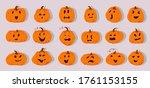 halloween pumpkins paper cut... | Shutterstock .eps vector #1761153155