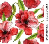 Watercolor Red Poppies In A...