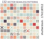 Stock vector set of seamless retro vector geometric polka dot floral decorative patterns 176118512
