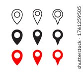 map pin icon. outline and flat...