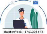 flat people working with a...   Shutterstock .eps vector #1761305645