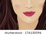 Close-up of a woman's face framed with dark hair and drawing attention to the lips. Vector illustration