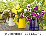 Three Enamel Jugs With Pansy...