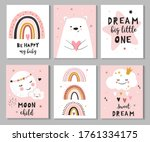 set of cute baby shower cards... | Shutterstock .eps vector #1761334175