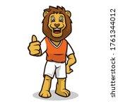 lion smile cute mascot design... | Shutterstock .eps vector #1761344012