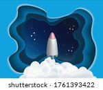 papercut style blue sky and... | Shutterstock .eps vector #1761393422