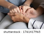 Close Up Elderly Loving Caring...
