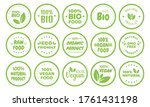 vegan food logo labels and tags....   Shutterstock .eps vector #1761431198