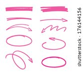 set of pink hand drawn arrows... | Shutterstock .eps vector #176144156