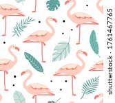 seamless pattern with cute pink ... | Shutterstock .eps vector #1761467765