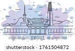 seoul city  line art with... | Shutterstock .eps vector #1761504872
