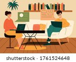 couple working from home in the ... | Shutterstock .eps vector #1761524648