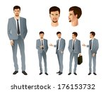 businessman in various poses | Shutterstock .eps vector #176153732